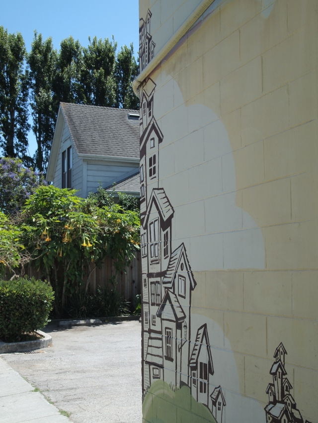 Mural depicting the historic district in downtown Santa Cruz